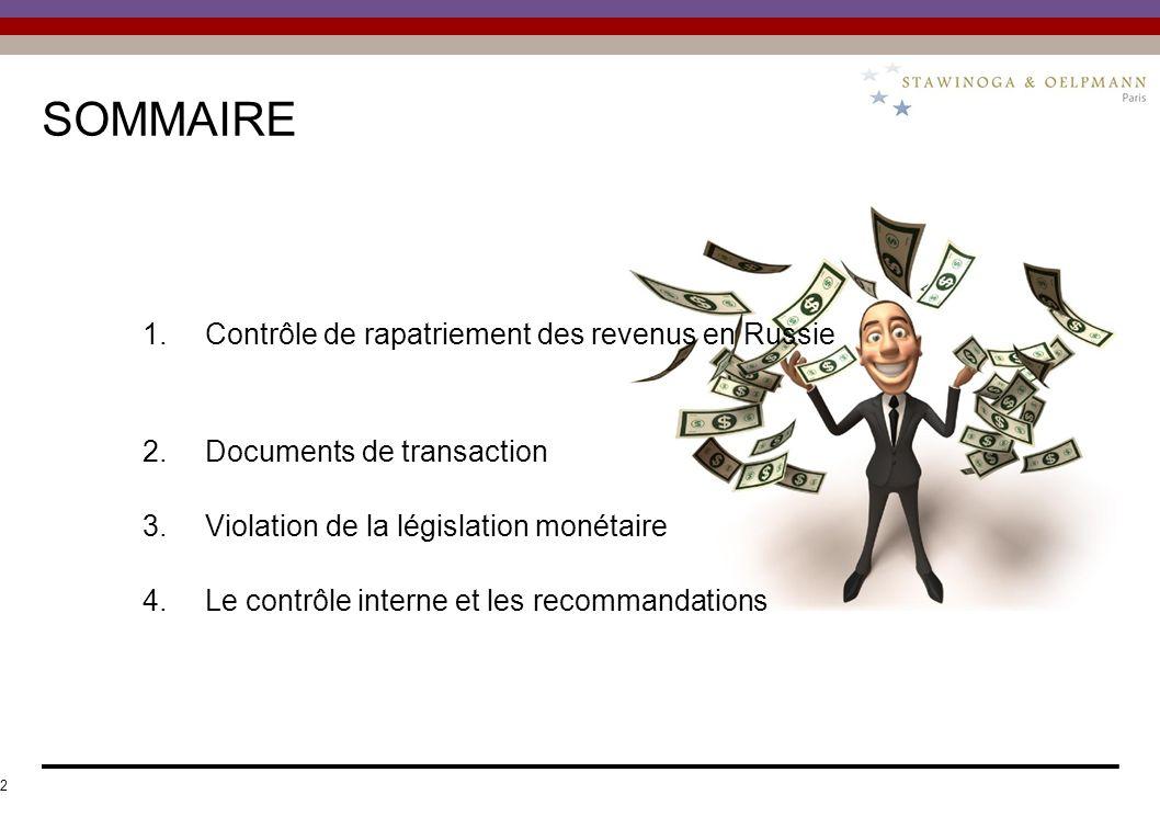 SOMMAIRE 1. Contrôle de rapatriement des revenus en Russie 2.Documents de transaction 3.