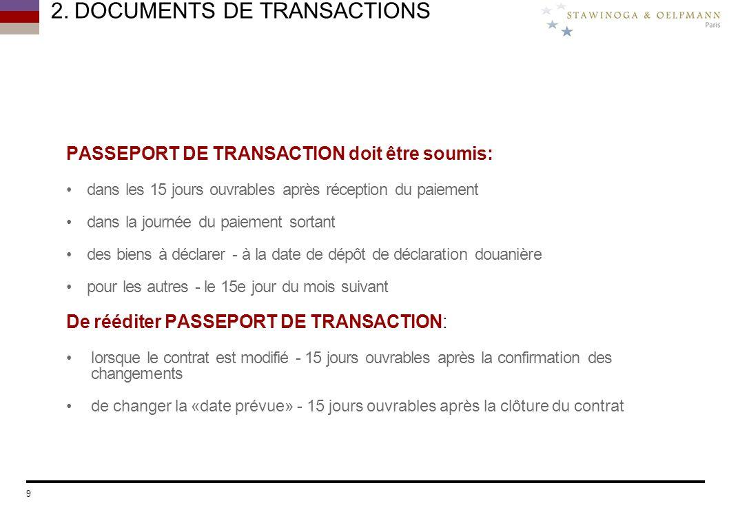 2. DOCUMENTS DE TRANSACTIONS PASSEPORT DE TRANSACTION doit être soumis: dans les 15 jours ouvrables après réception du paiement dans la journée du pai