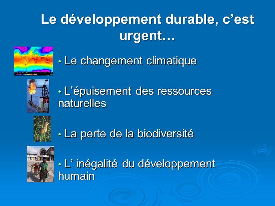Le développement durable, cest urgent… Le changement climatique Le changement climatique Lépuisement des ressources naturelles Lépuisement des ressour