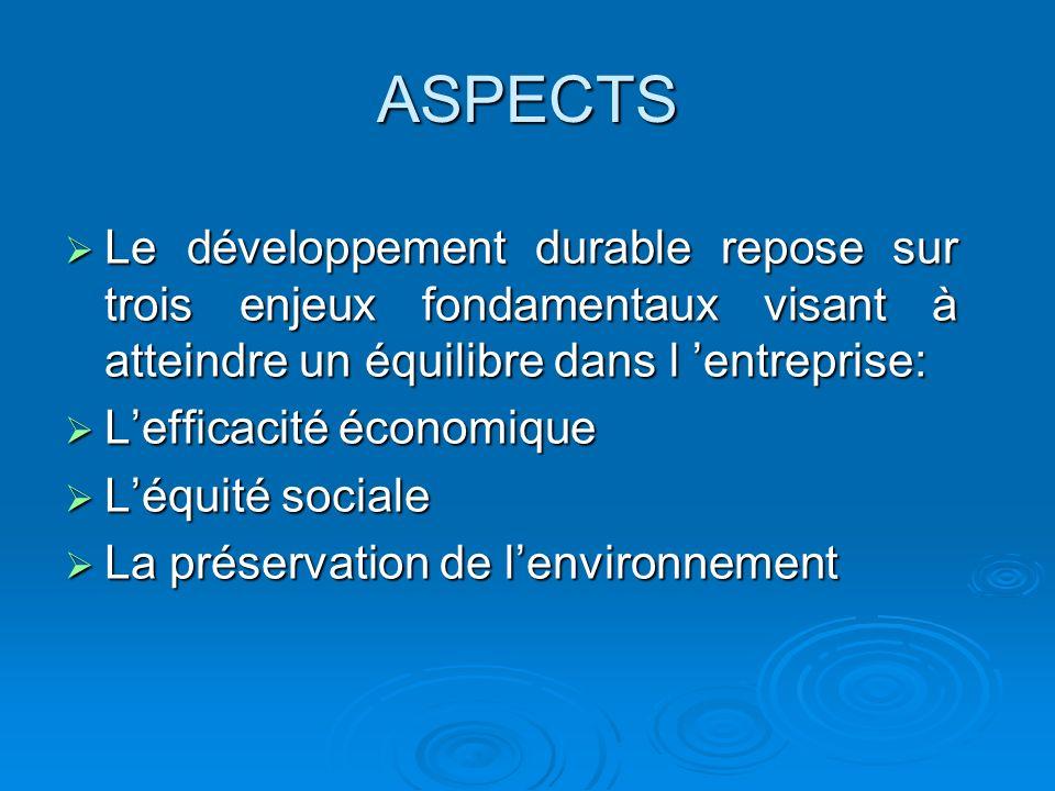 ASPECTS Le développement durable repose sur trois enjeux fondamentaux visant à atteindre un équilibre dans l entreprise: Le développement durable repo