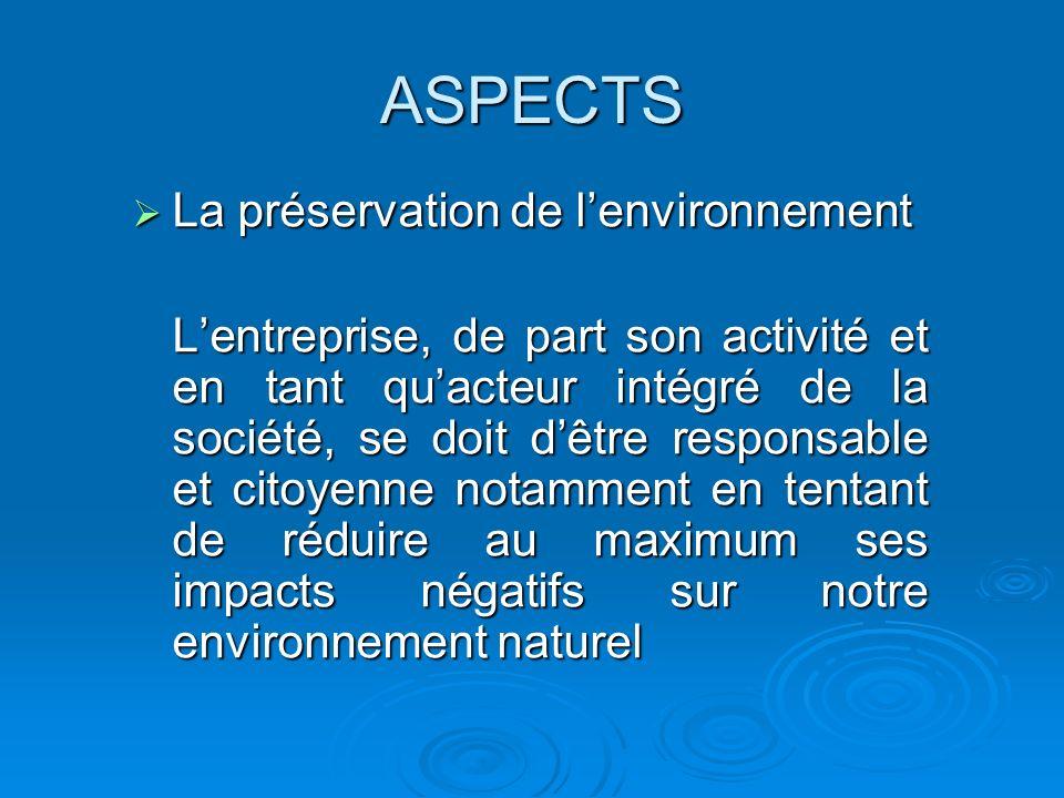ASPECTS La préservation de lenvironnement La préservation de lenvironnement Lentreprise, de part son activité et en tant quacteur intégré de la sociét