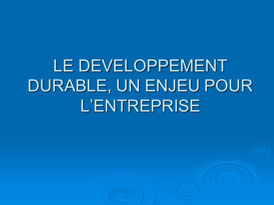 ENJEUX POUR LENTREPRISE Le développement durable représente un enjeu pour les entreprises, dordre stratégique et opérationnel.
