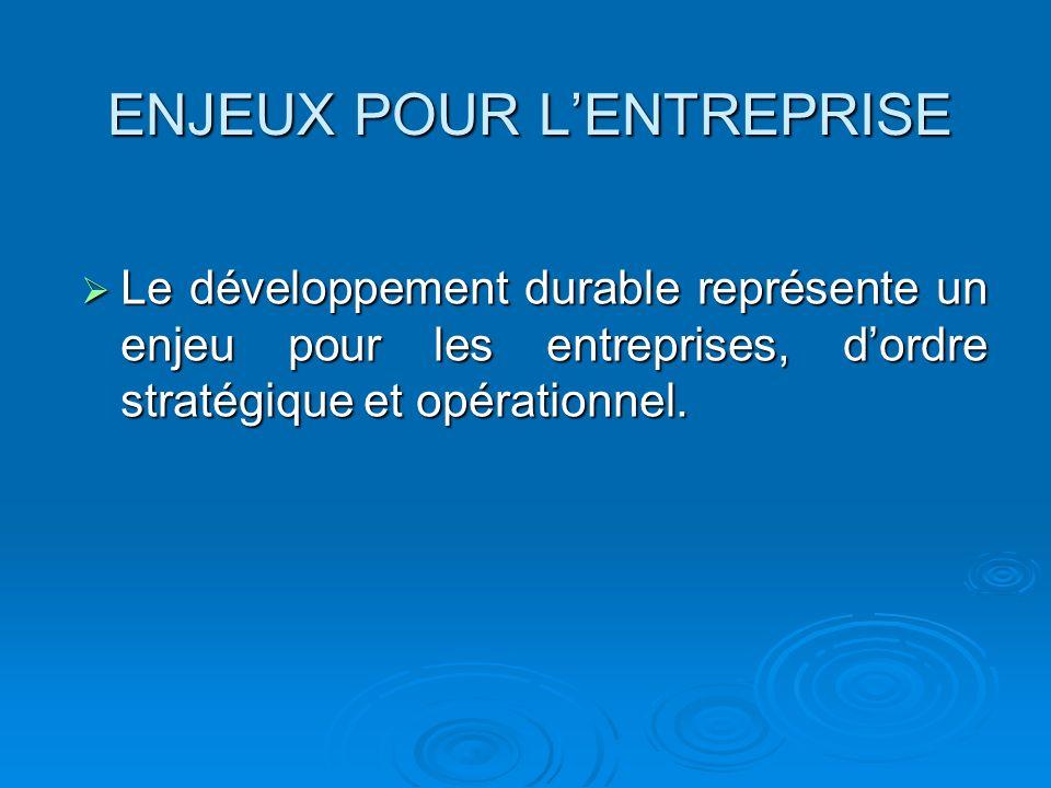 ENJEUX POUR LENTREPRISE Le développement durable représente un enjeu pour les entreprises, dordre stratégique et opérationnel. Le développement durabl
