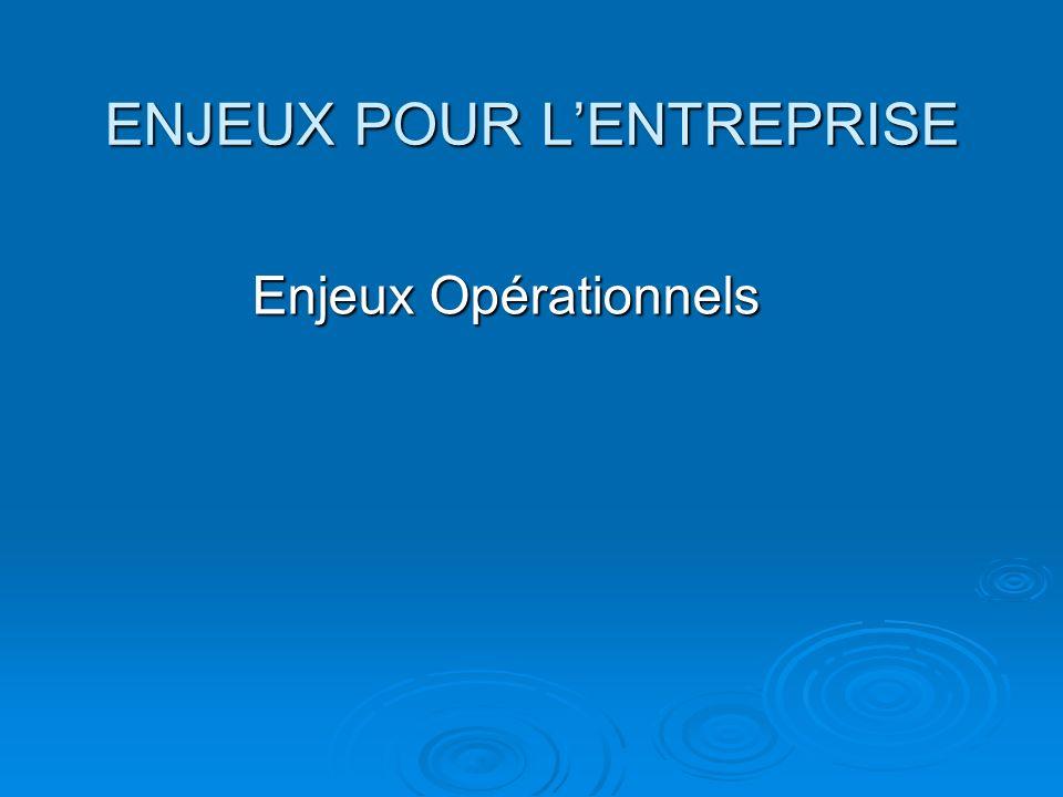 ENJEUX POUR LENTREPRISE Enjeux Opérationnels