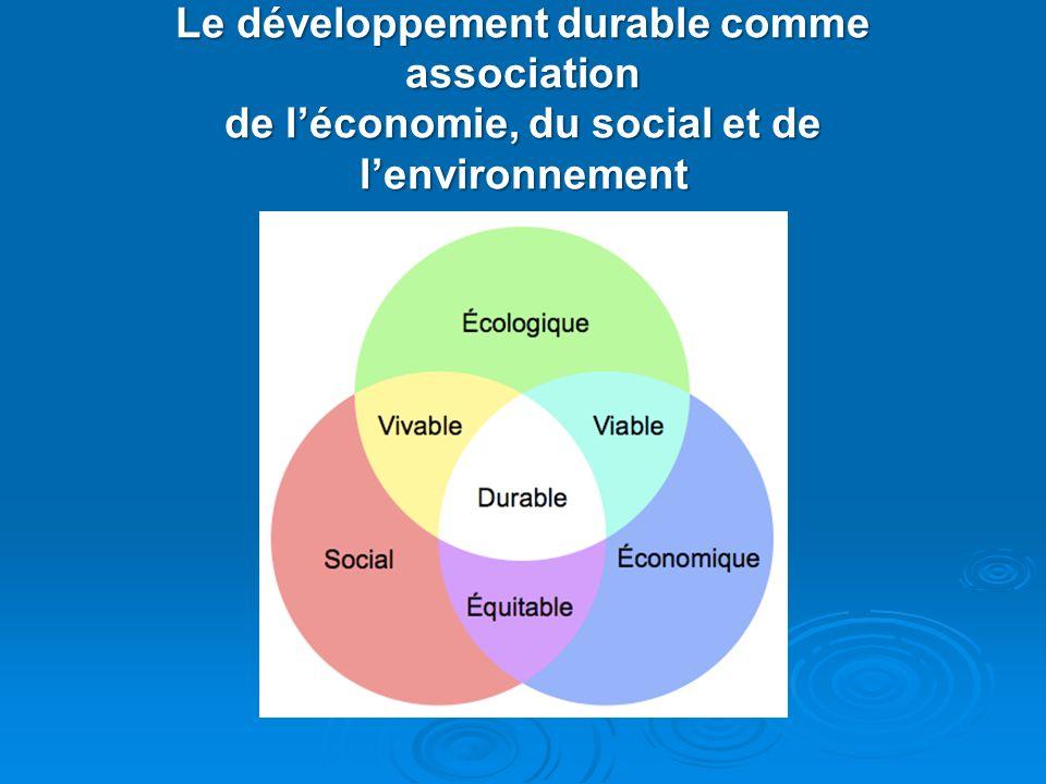 Le développement durable comme association de léconomie, du social et de lenvironnement