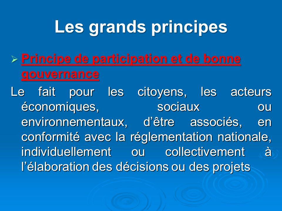 Les grands principes Principe de participation et de bonne gouvernance Principe de participation et de bonne gouvernance Le fait pour les citoyens, le