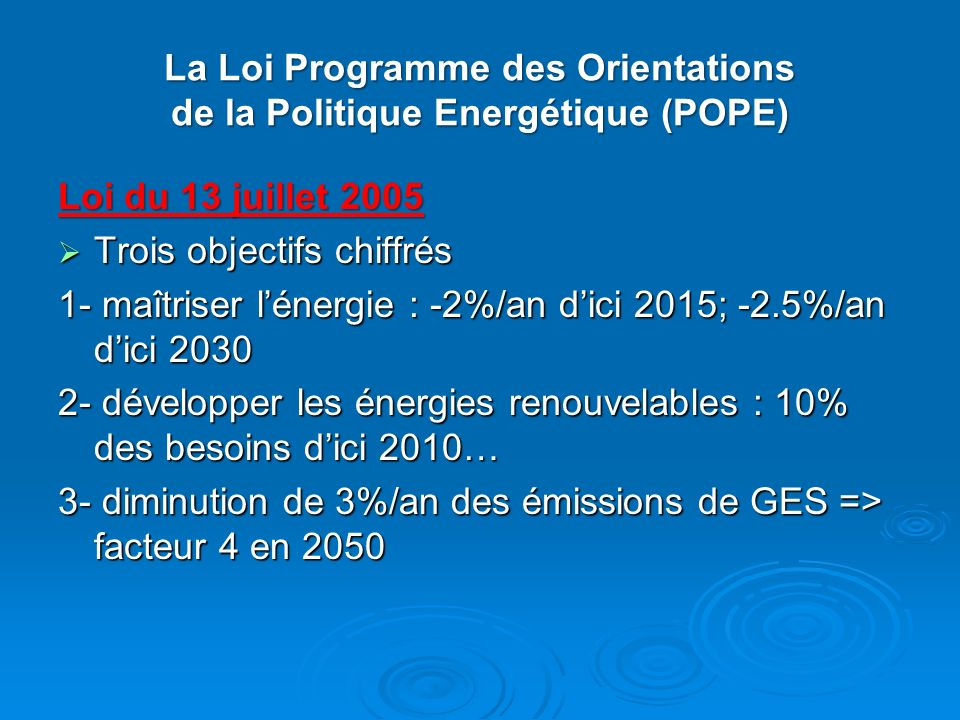 La Loi Programme des Orientations de la Politique Energétique (POPE) Loi du 13 juillet 2005 Trois objectifs chiffrés Trois objectifs chiffrés 1- maîtr