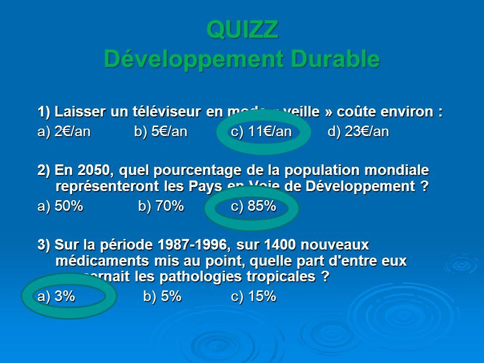 QUIZZ Développement Durable 1) Laisser un téléviseur en mode « veille » coûte environ : a) 2/an b) 5/an c) 11/an d) 23/an 2) En 2050, quel pourcentage