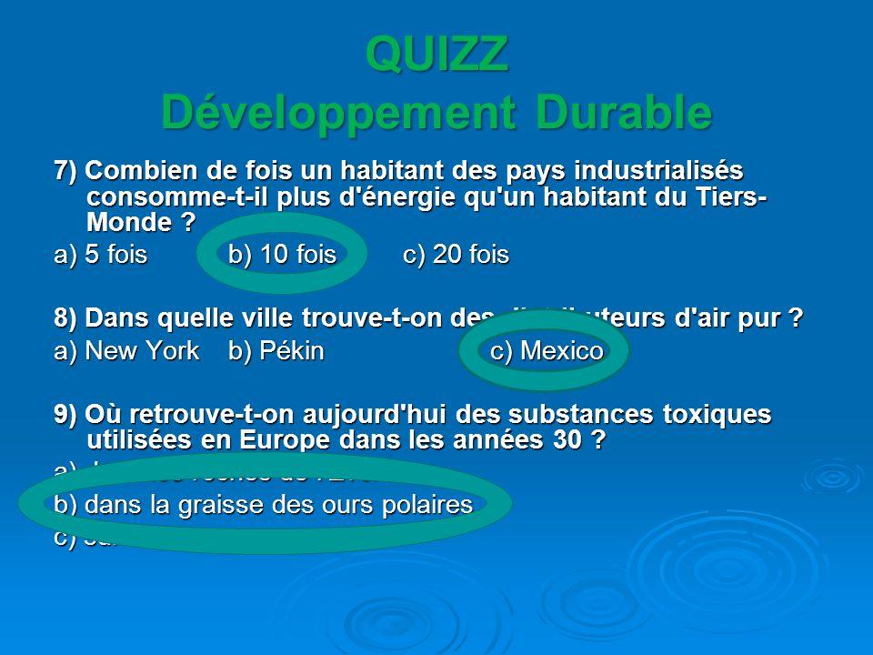 QUIZZ Développement Durable 10) Quel produit nécessite 33 000 litres d eau pour être fabriqué .