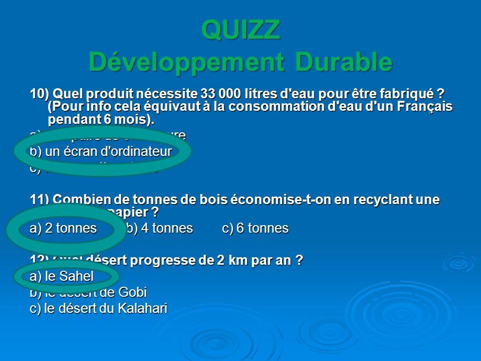 QUIZZ Développement Durable 10) Quel produit nécessite 33 000 litres d'eau pour être fabriqué ? (Pour info cela équivaut à la consommation d'eau d'un