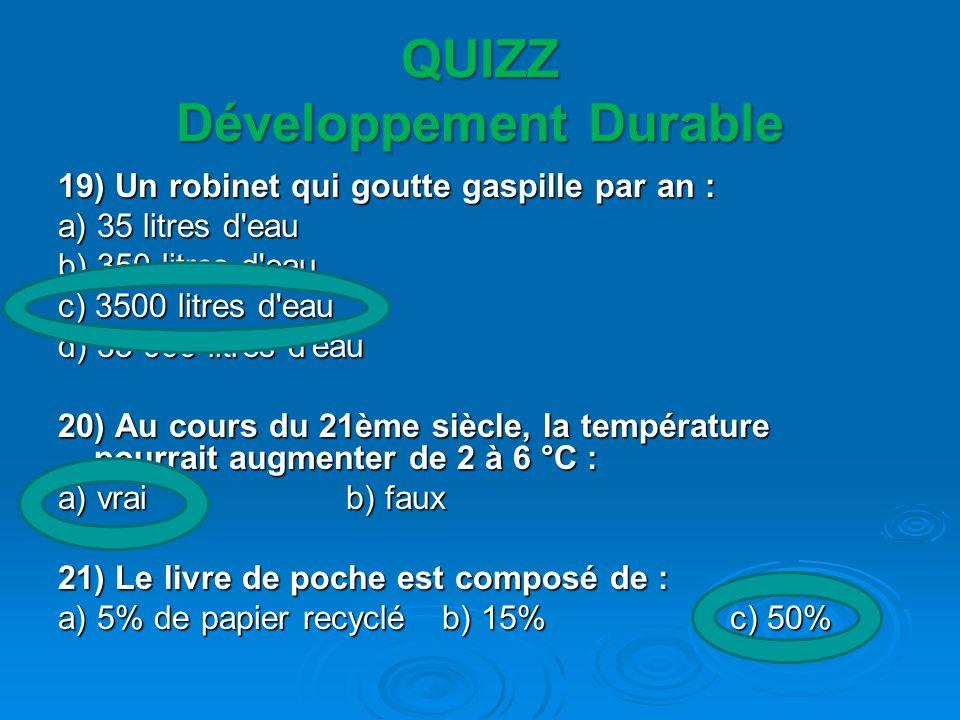 QUIZZ Développement Durable 19) Un robinet qui goutte gaspille par an : a) 35 litres d'eau b) 350 litres d'eau c) 3500 litres d'eau d) 35 000 litres d