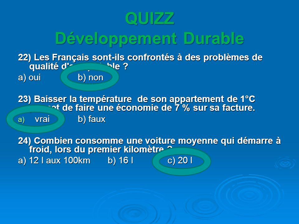 QUIZZ Développement Durable 22) Les Français sont-ils confrontés à des problèmes de qualité d'eau potable ? a) oui b) non 23) Baisser la température d