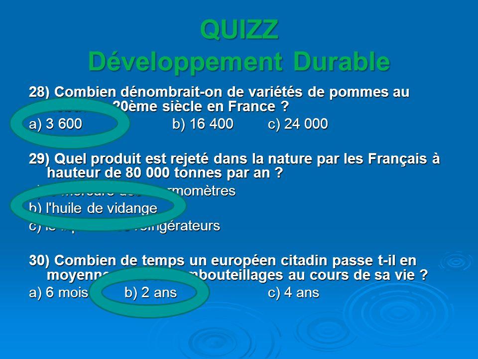 QUIZZ Développement Durable 28) Combien dénombrait-on de variétés de pommes au début du 20ème siècle en France ? a) 3 600b) 16 400c) 24 000 29) Quel p