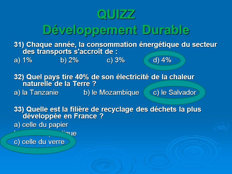QUIZZ Développement Durable 34) Les transports en ville sont responsables des émissions de dioxyde de carbone (CO2) pour : a) 10% b) 20% c) 30% d) 40% a) 10% b) 20% c) 30% d) 40% 35) Quelle est la part d eau douce disponible sur Terre .