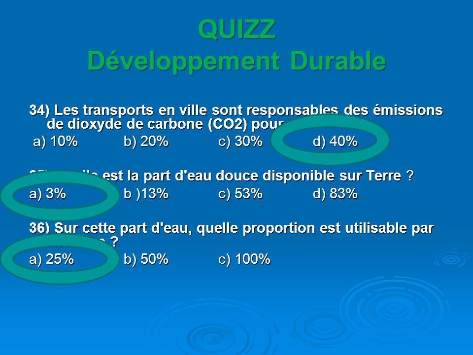 QUIZZ Développement Durable 34) Les transports en ville sont responsables des émissions de dioxyde de carbone (CO2) pour : a) 10% b) 20% c) 30% d) 40%