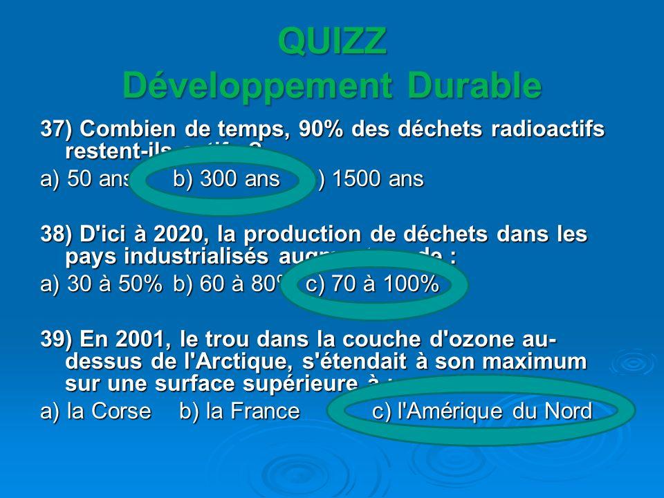 QUIZZ Développement Durable 37) Combien de temps, 90% des déchets radioactifs restent-ils actifs ? a) 50 ansb) 300 ans c) 1500 ans 38) D'ici à 2020, l