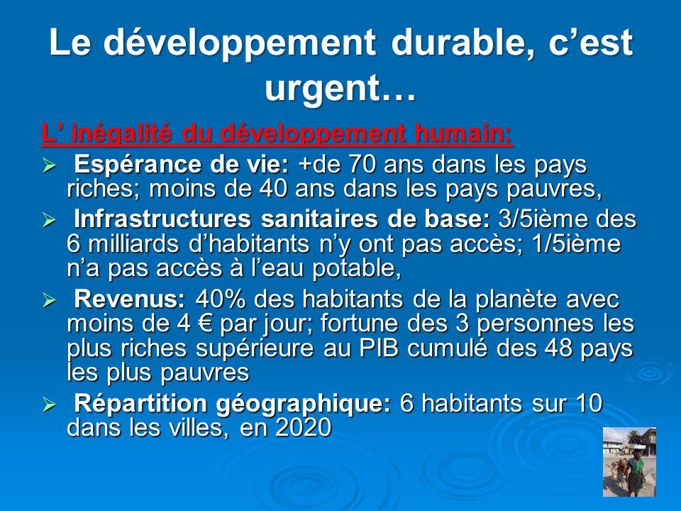 Le développement durable, cest urgent… L inégalité du développement humain: Espérance de vie: +de 70 ans dans les pays riches; moins de 40 ans dans le