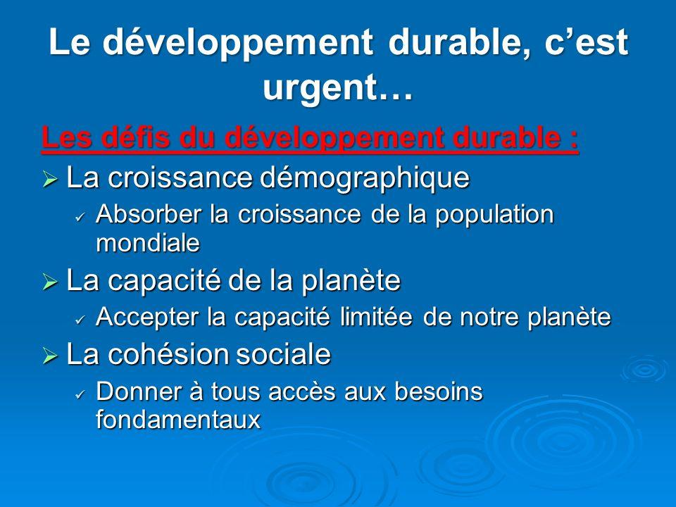 Le développement durable, cest urgent… Les défis du développement durable : La croissance démographique La croissance démographique Absorber la croiss