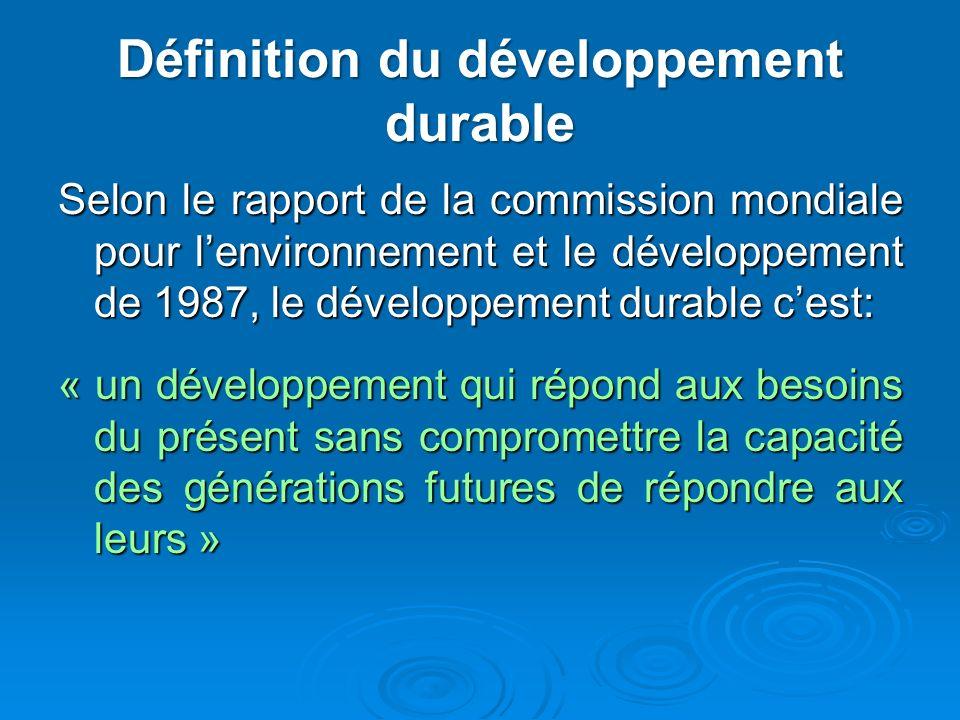 Définition du développement durable Selon le rapport de la commission mondiale pour lenvironnement et le développement de 1987, le développement durab