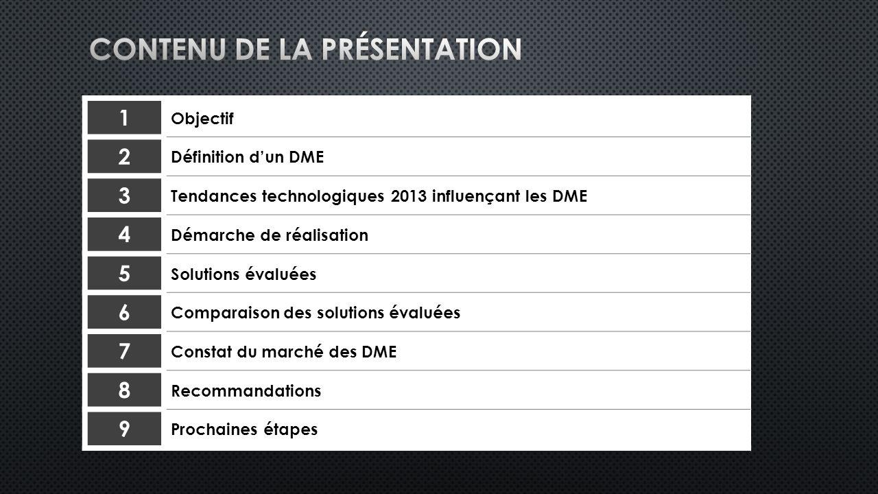 1 Objectif 2 Définition dun DME 3 Tendances technologiques 2013 influençant les DME 4 Démarche de réalisation 5 Solutions évaluées 6 Comparaison des solutions évaluées 7 Constat du marché des DME 8 Recommandations 9 Prochaines étapes