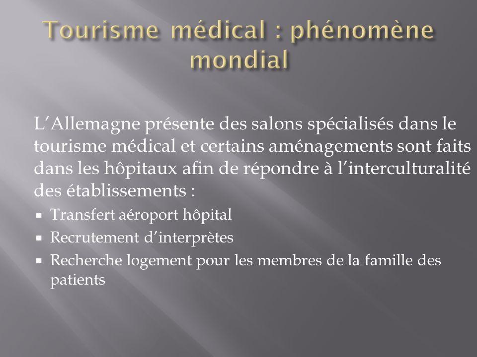 LAllemagne présente des salons spécialisés dans le tourisme médical et certains aménagements sont faits dans les hôpitaux afin de répondre à lintercul