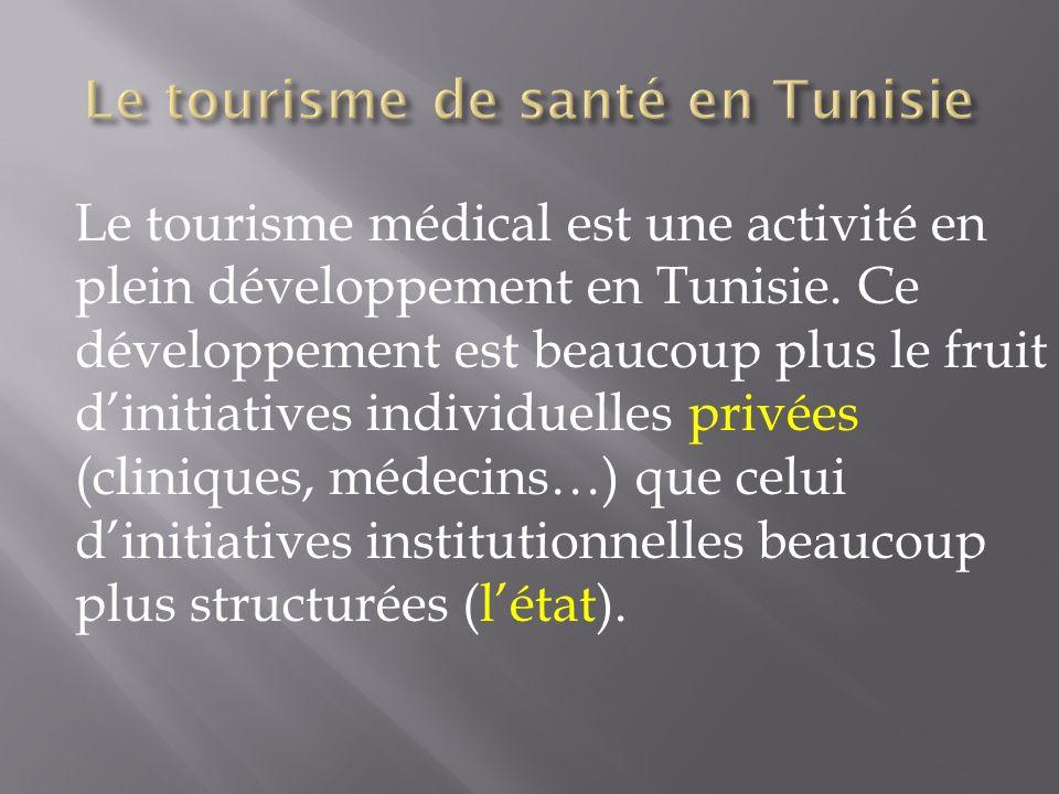 Le tourisme médical est une activité en plein développement en Tunisie. Ce développement est beaucoup plus le fruit dinitiatives individuelles privées