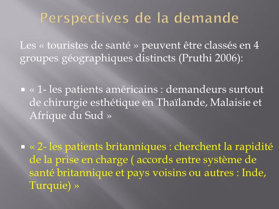 Les « touristes de santé » peuvent être classés en 4 groupes géographiques distincts (Pruthi 2006): « 1- les patients américains : demandeurs surtout