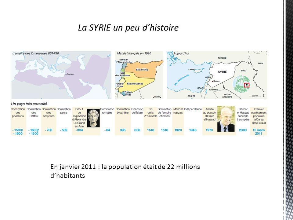 La SYRIE un peu dhistoire En janvier 2011 : la population était de 22 millions dhabitants