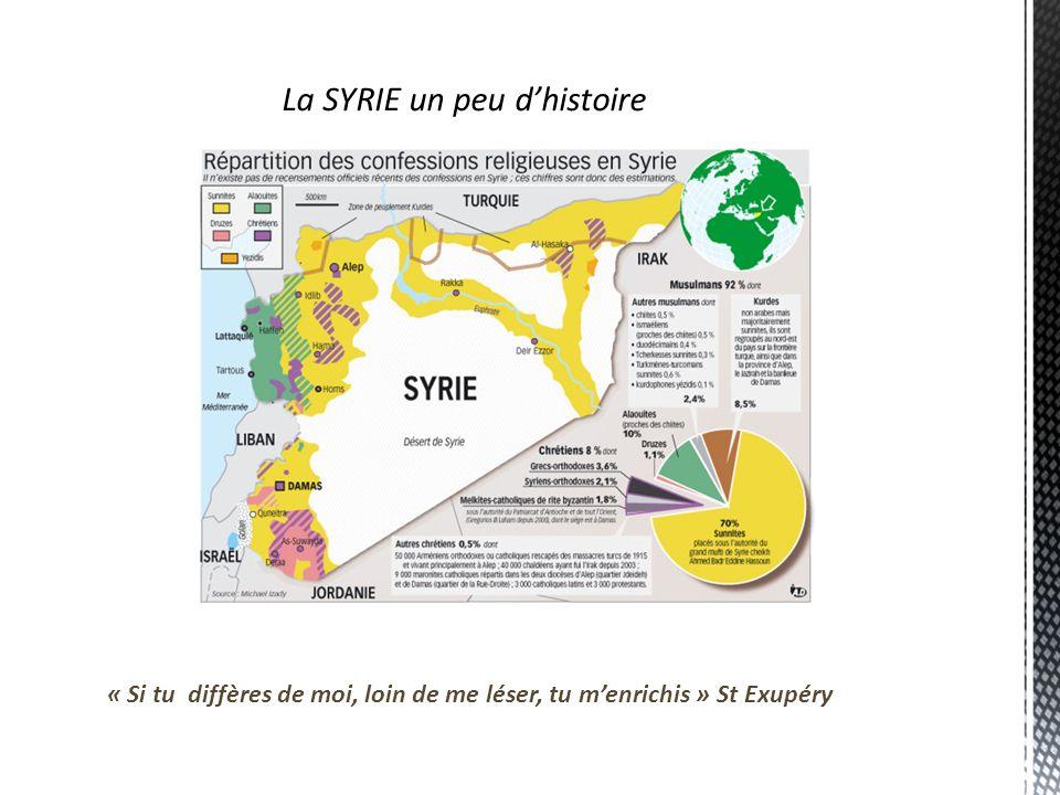 La SYRIE un peu dhistoire « Si tu diffères de moi, loin de me léser, tu menrichis » St Exupéry