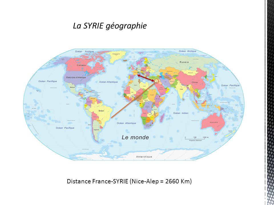 La SYRIE géographie Distance France-SYRIE (Nice-Alep = 2660 Km)