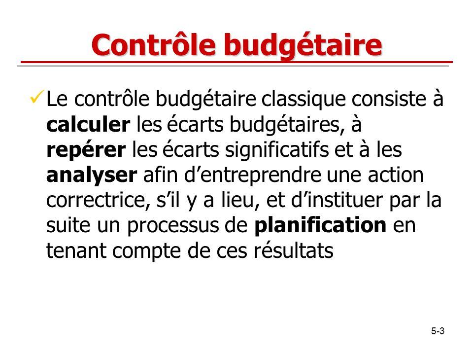 5-3 Contrôle budgétaire Le contrôle budgétaire classique consiste à calculer les écarts budgétaires, à repérer les écarts significatifs et à les analy
