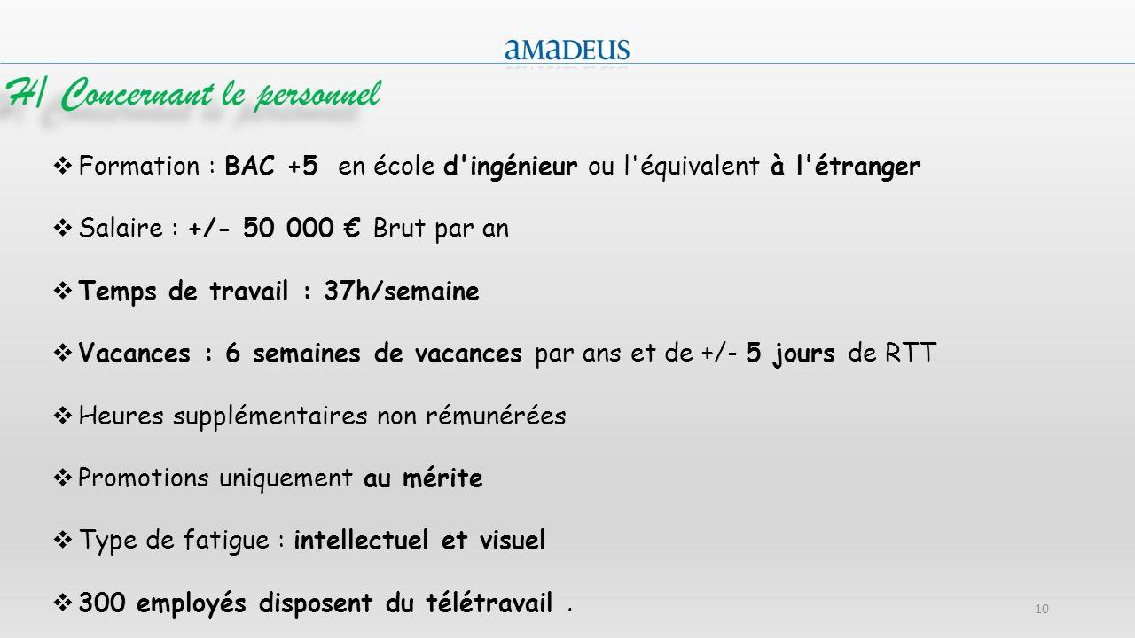 10 Formation : BAC +5 en école d'ingénieur ou l'équivalent à l'étranger Salaire : +/- 50 000 Brut par an Temps de travail : 37h/semaine Vacances : 6 s