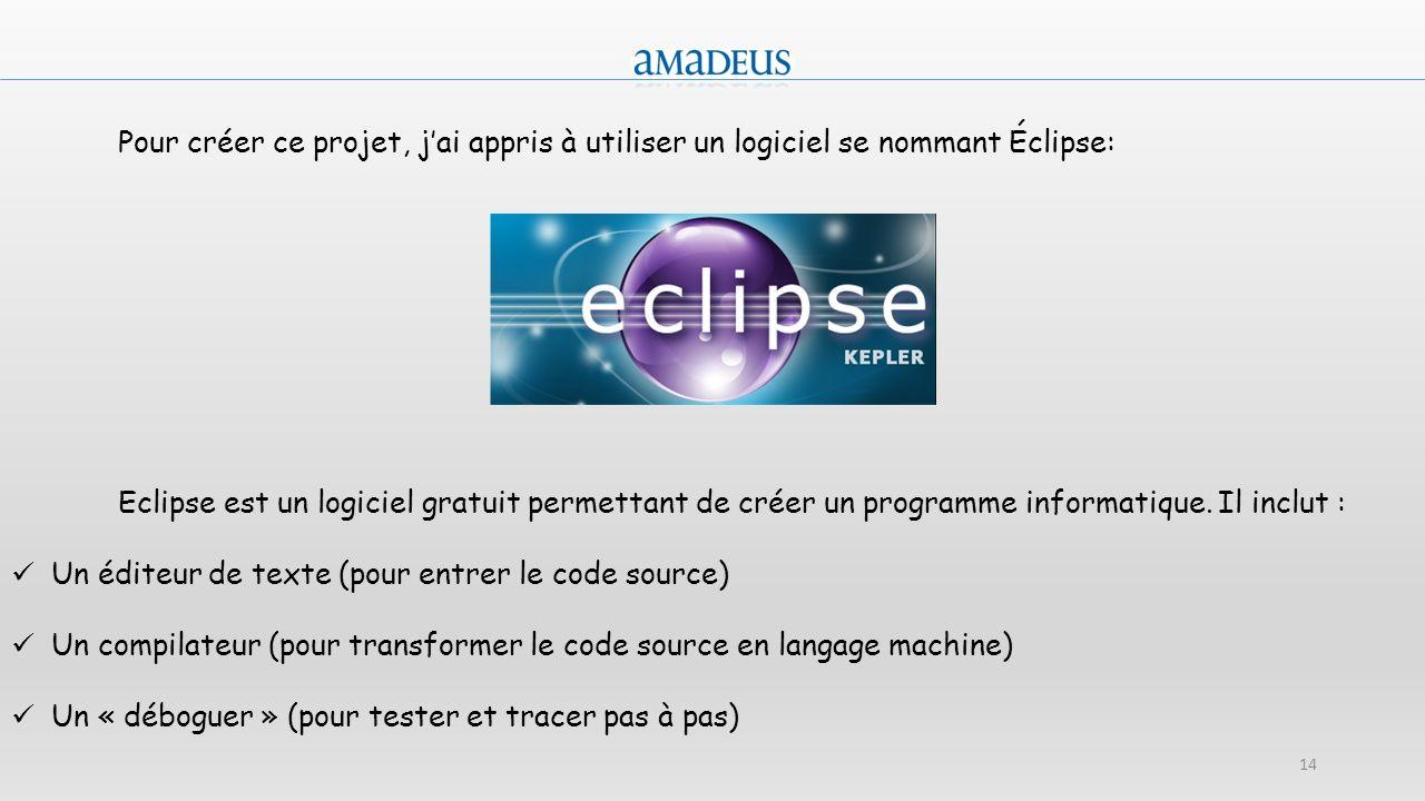 14 Pour créer ce projet, jai appris à utiliser un logiciel se nommant Éclipse: Eclipse est un logiciel gratuit permettant de créer un programme inform
