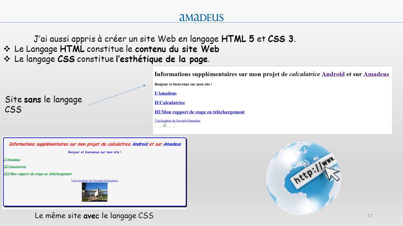 17 Jai aussi appris à créer un site Web en langage HTML 5 et CSS 3. Le Langage HTML constitue le contenu du site Web Le langage CSS constitue lesthéti