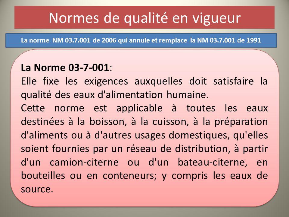 Normes de qualité en vigueur La Norme 03-7-001: Elle fixe les exigences auxquelles doit satisfaire la qualité des eaux d'alimentation humaine. Cette n