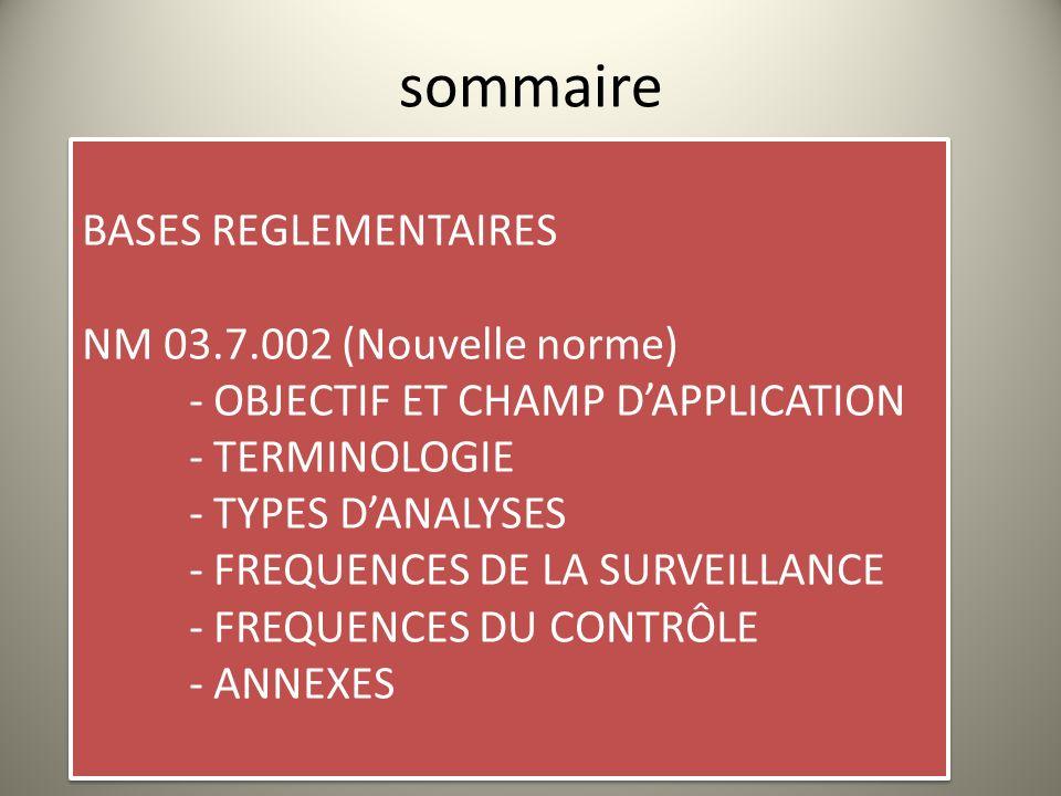 sommaire BASES REGLEMENTAIRES NM 03.7.002 (Nouvelle norme) - OBJECTIF ET CHAMP DAPPLICATION - TERMINOLOGIE - TYPES DANALYSES - FREQUENCES DE LA SURVEI