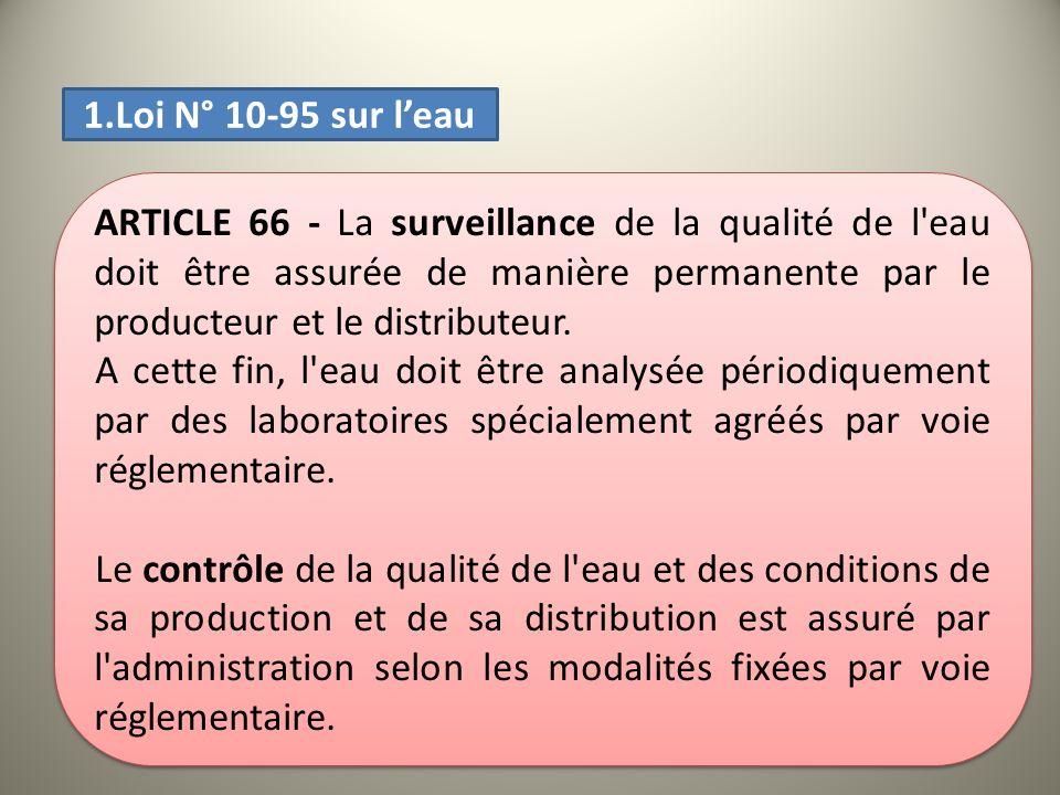 ARTICLE 66 - La surveillance de la qualité de l'eau doit être assurée de manière permanente par le producteur et le distributeur. A cette fin, l'eau d