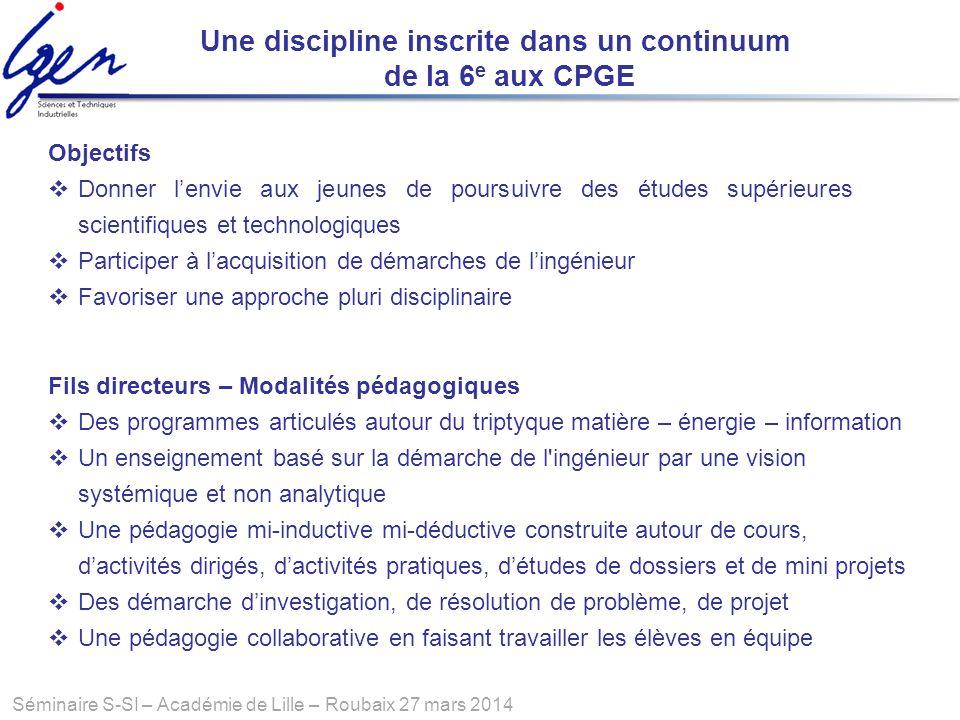 Séminaire S-SI – Académie de Lille – Roubaix 27 mars 2014 Une discipline inscrite dans un continuum de la 6 e aux CPGE Fils directeurs – Modalités péd