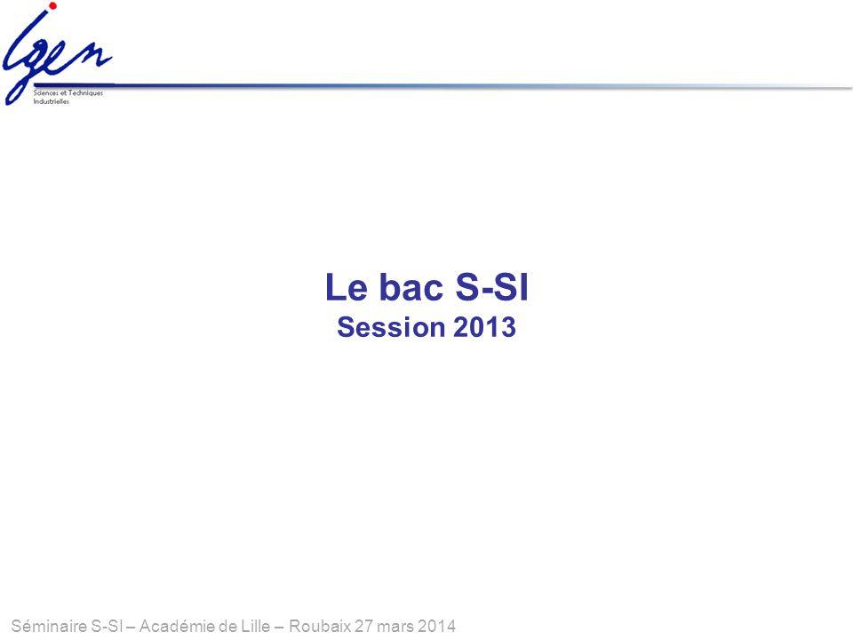 Séminaire S-SI – Académie de Lille – Roubaix 27 mars 2014 Le bac S-SI Session 2013