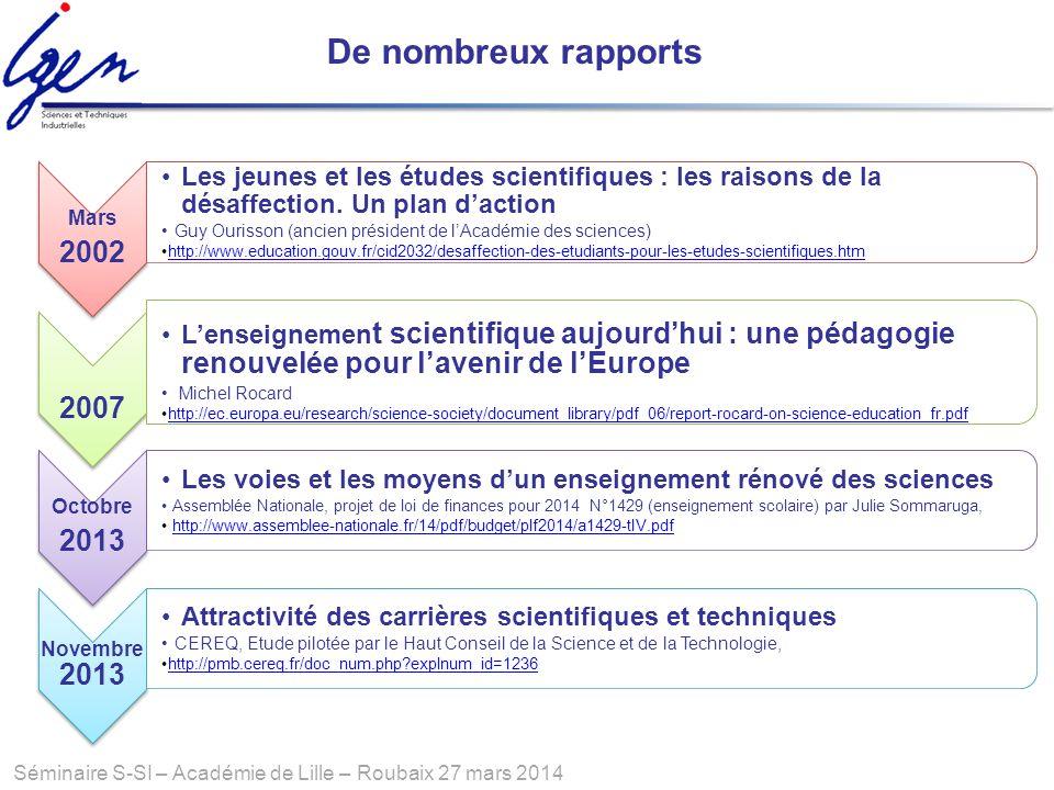 Séminaire S-SI – Académie de Lille – Roubaix 27 mars 2014 De nombreux rapports Mars 2002 Les jeunes et les études scientifiques : les raisons de la dé