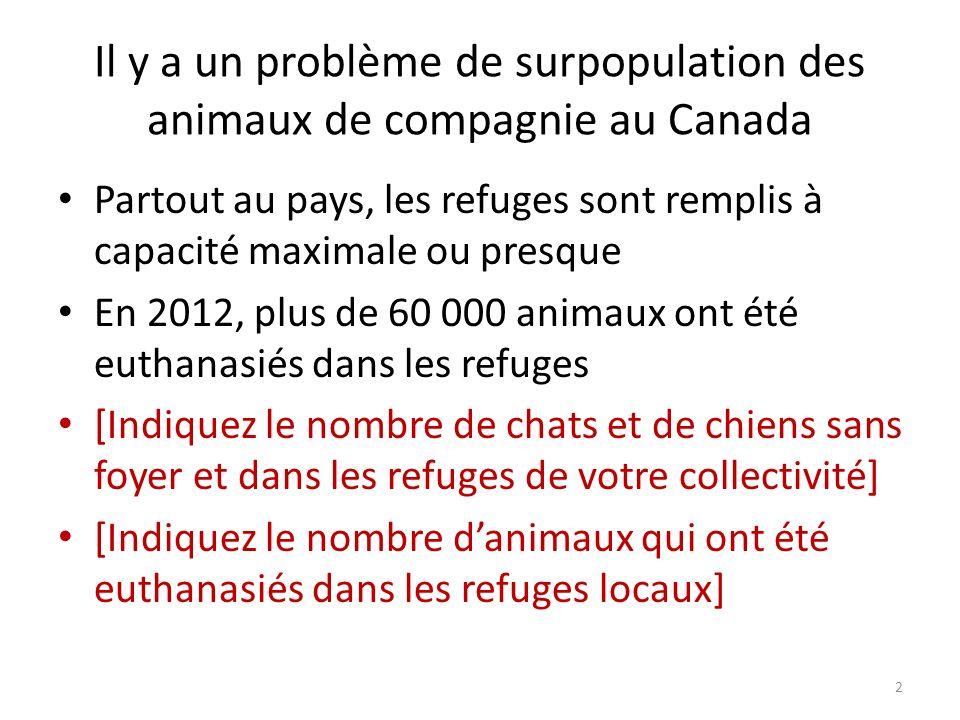 Il y a un problème de surpopulation des animaux de compagnie au Canada Partout au pays, les refuges sont remplis à capacité maximale ou presque En 2012, plus de 60 000 animaux ont été euthanasiés dans les refuges [Indiquez le nombre de chats et de chiens sans foyer et dans les refuges de votre collectivité] [Indiquez le nombre danimaux qui ont été euthanasiés dans les refuges locaux] 2