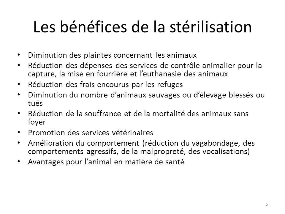 Les bénéfices de la stérilisation Diminution des plaintes concernant les animaux Réduction des dépenses des services de contrôle animalier pour la cap