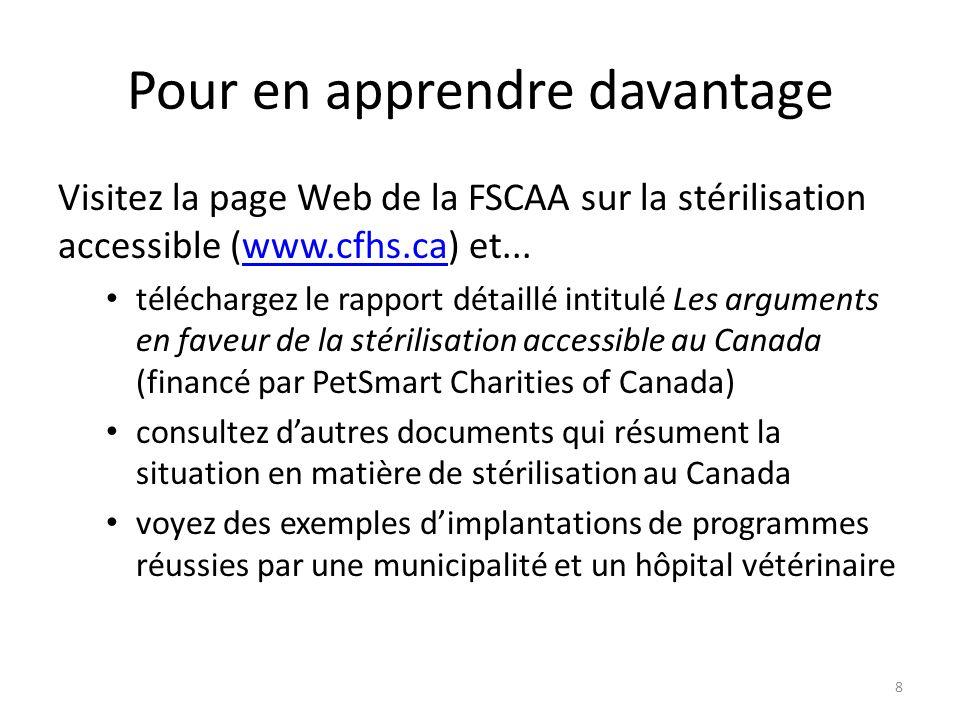 Pour en apprendre davantage Visitez la page Web de la FSCAA sur la stérilisation accessible (www.cfhs.ca) et...www.cfhs.ca téléchargez le rapport déta