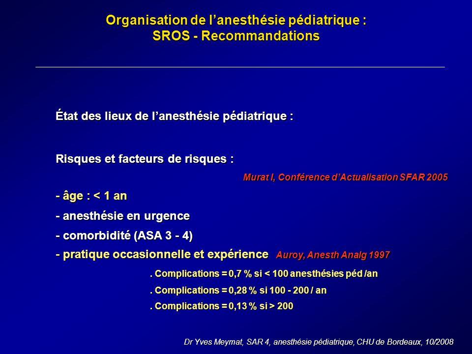 Organisation de lanesthésie pédiatrique : SROS - Recommandations Dr Yves Meymat, SAR 4, anesthésie pédiatrique, CHU de Bordeaux, 10/2008 État des lieux de lanesthésie pédiatrique : Risques et facteurs de risques : Murat I, Conférence dActualisation SFAR 2005 - âge : < 1 an - anesthésie en urgence - comorbidité (ASA 3 - 4) - pratique occasionnelle et expérience Auroy, Anesth Analg 1997.