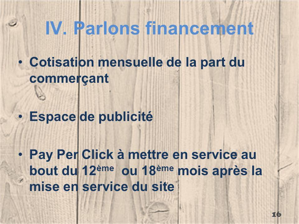 IV.Parlons financement Cotisation mensuelle de la part du commerçant Espace de publicité Pay Per Click à mettre en service au bout du 12 ème ou 18 ème