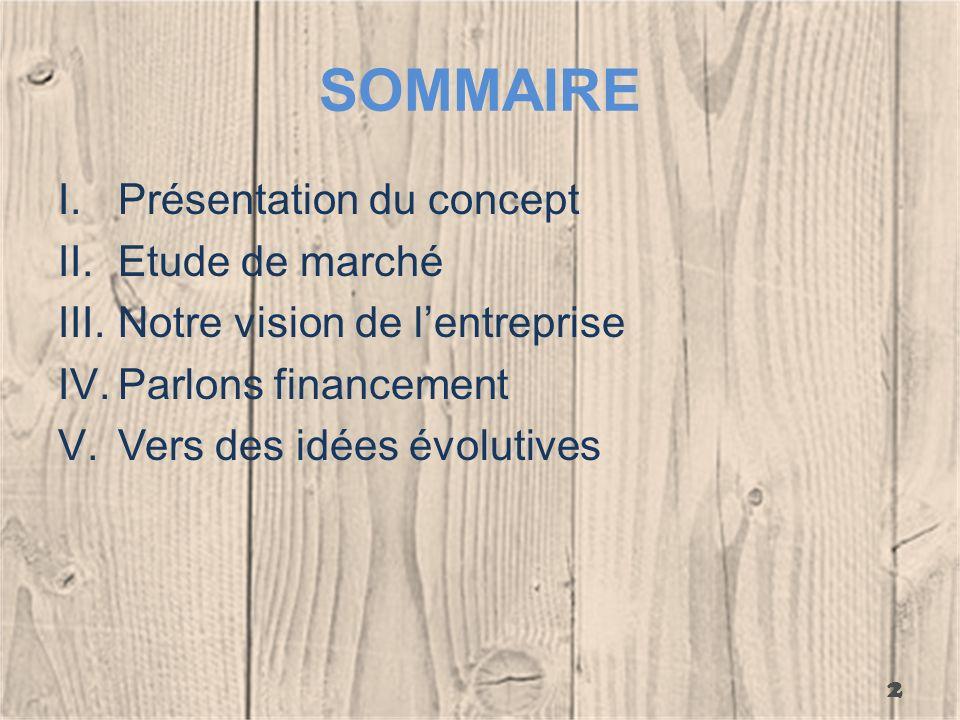 SOMMAIRE I.Présentation du concept II.Etude de marché III.Notre vision de lentreprise IV.Parlons financement V.Vers des idées évolutives 2