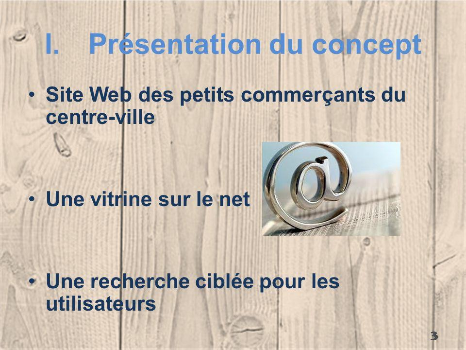 I.Présentation du concept Site Web des petits commerçants du centre-ville Une vitrine sur le net Une recherche ciblée pour les utilisateurs 3