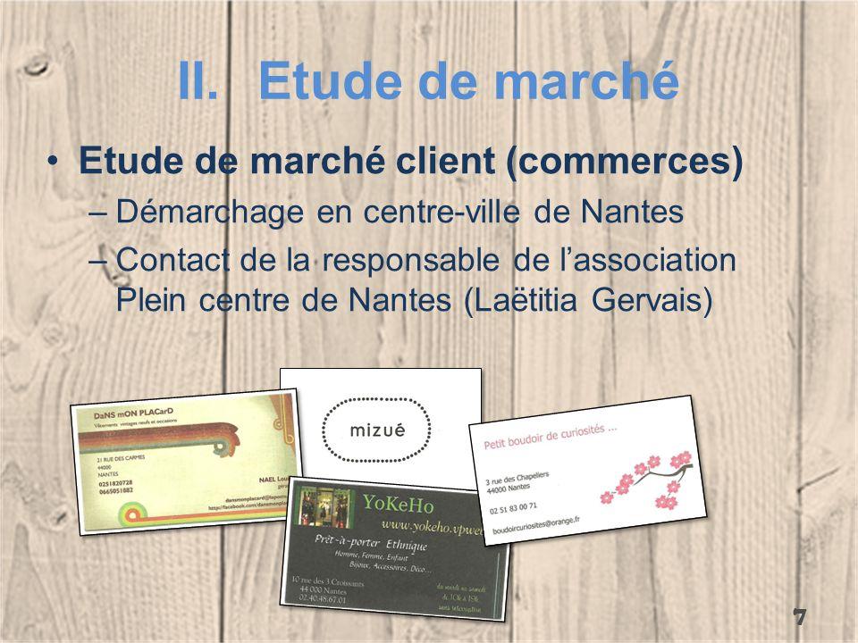 II.Etude de marché Etude de marché client (commerces) –Démarchage en centre-ville de Nantes –Contact de la responsable de lassociation Plein centre de
