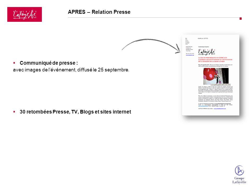 APRES – Relation Presse Communiqué de presse : avec images de lévénement, diffusé le 25 septembre.