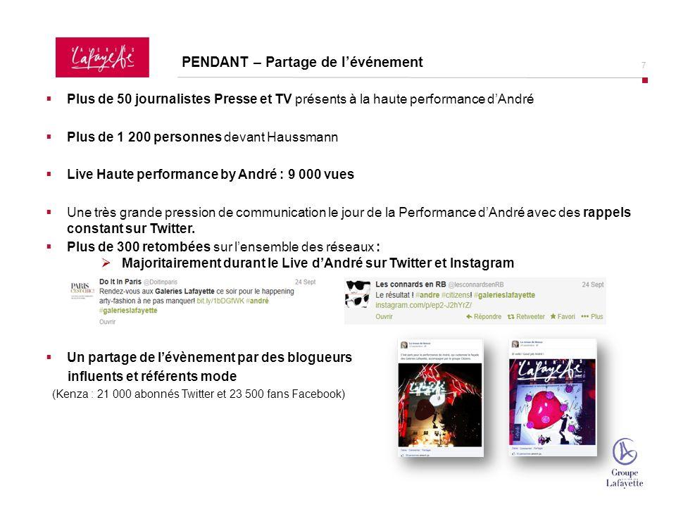 8 La Haute Performance by André en live sur le Carnet Mode dans le Slider HP et dans lespace dédié Mode In Love et aussi sur les 6 sites de mode référents : Vogue.fr PENDANT – Retransmission du Live